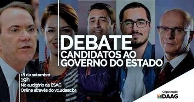 Candidatos ao governo do Estado terão debate na Udesc na terça, 18