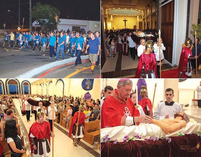 Católicos acompanham a procissão do Senhor Morto