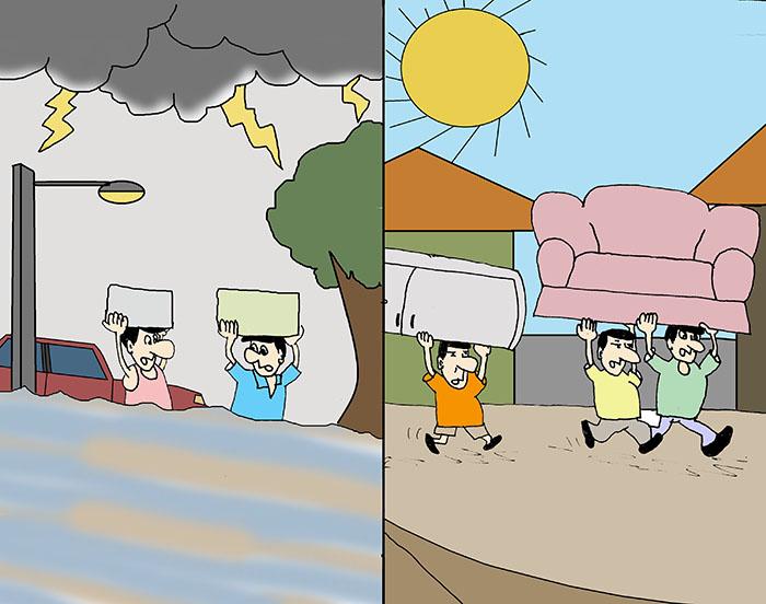 Chuvarada volta a inundar o Centro
