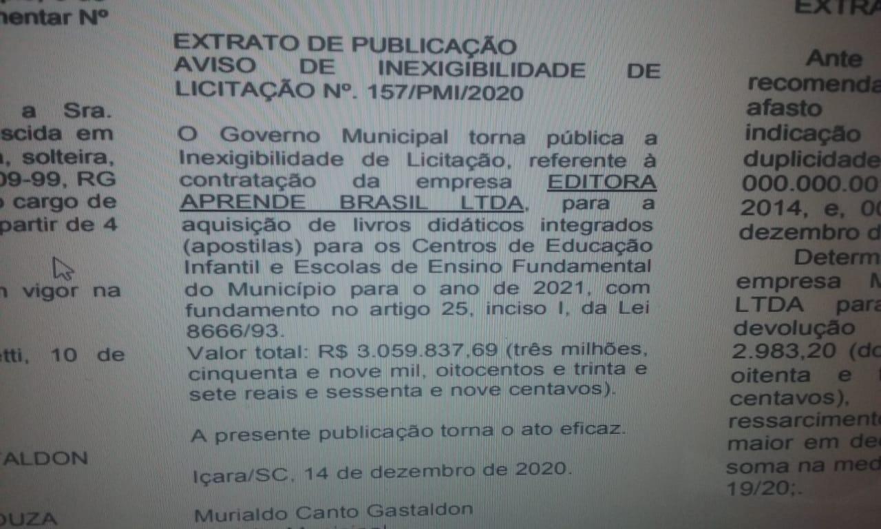 Gastaldon autoriza gastos superior a R$ 3 milhões na Educação para 2021
