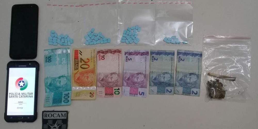 Polícia Militar de Içara prende traficante com 68 comprimidos de ecstasy