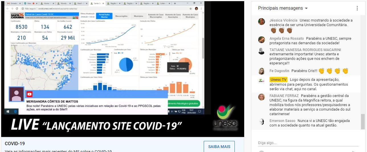 Unesc lança site que reúne principais informações e dados sobre a Covid-19