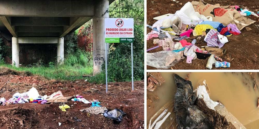 Lixo volta a ser depositado após limpeza e aviso da Fundai