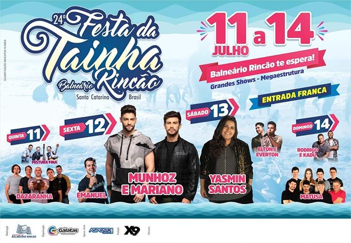 Balneário Rincão anuncia shows nacionais na 24ª Festa da Tainha