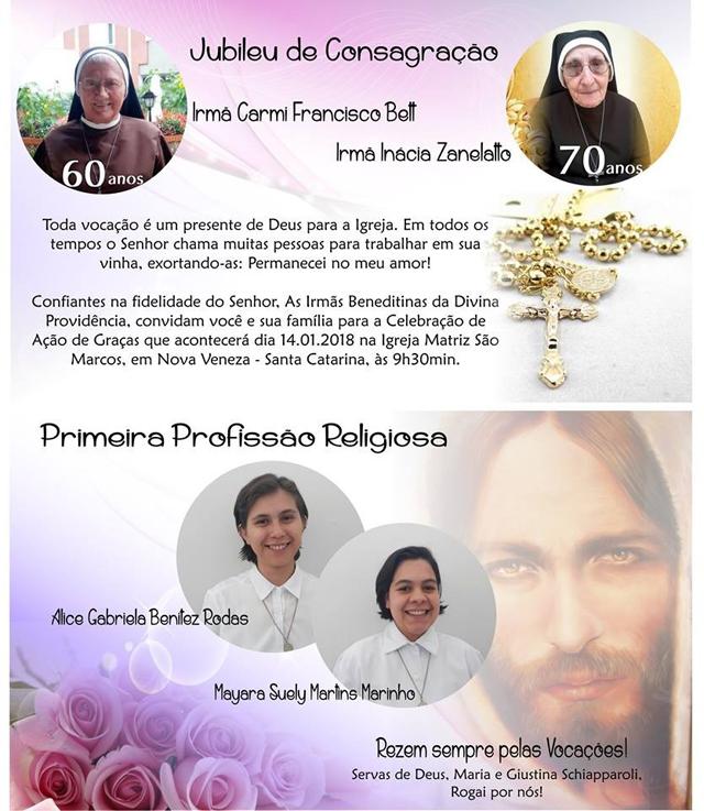 Irmãs Beneditinas celebram jubileu de consagração