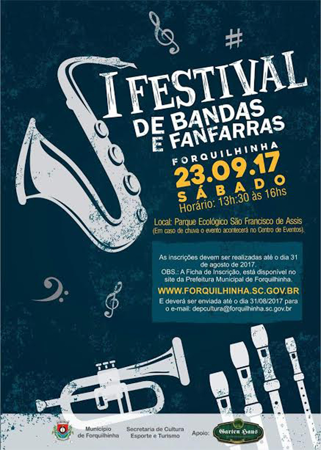 Forquilhinha terá Festival de Bandas e Fanfarras