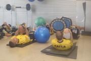 Trabalho de força na academia do CT do Criciúma