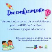 Ação social em favor da instalação da biblioteca da APAE de Criciúma