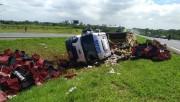 Caminhão carregado com frutas tomba na BR-101 na cidade de Içara