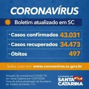 Coronavírus em SC: Estado confirma 43.031 casos e 497 mortes por Covid-19