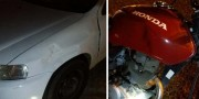 Acidente na SC-443 no Bairro Demboski envolve carro e motocicleta