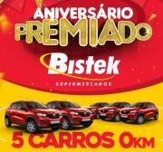 Bistek comemora 38 anos com sorteio de cinco carros, iphones e vale compras