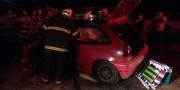 Após colisão na Rodovia SC-445 motorista é resgatado pelo Corpo de Bombeiros