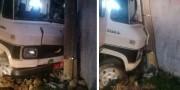 Caminhão colide em poste e deixa Bairro Jardim Silvana sem energia