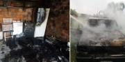 Incêndio em camionete atinge residência na localidade de Boa Vista em Içara