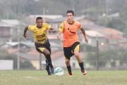 Jogadores do Criciúma treinam parte técnica e tática no CT