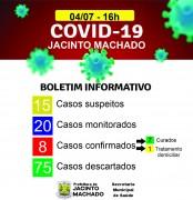 Homem de 29 anos é o oitavo caso de coronavírus em Jacinto Machado