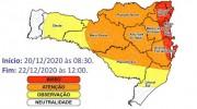 Governo de Santa Catarina reforça alerta devido à chuva intensa no estado