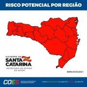 SC todas as regiões classificadas no risco gravíssimo pela segunda semana seguida