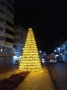 Montagem de árvore de Natal é feita com 465 garrafões em Urussanga