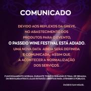 Passeio Wine Festival tem data transferida