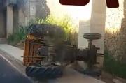 Trator tomba na Via Rápida após colisão traseira