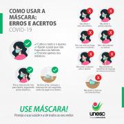 Unesc orienta sobre o uso correto de máscara um desafio para a proteção coletiva