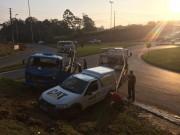 Veículos colidem em cruzamento na Rodovia Jorge Zanatta