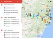 Mapa mostra cursos, grupos de pesquisa e ações de extensão da Udesc