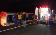 Micro-ônibus invade canteiro central na BR-101
