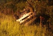 Camionete tomba na SC-445 em Pedreiras motorista não fica ferido