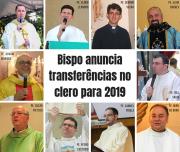Bispo anuncia transferências no clero para 2019