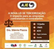 Especialista falará sobre Lei da Terceirização na AJE Criciúma