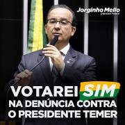 Deputado Jorginho Mello votará a favor da denúncia contra Temer
