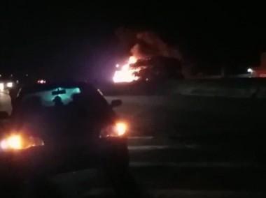 Carreta cegonha com 11 carros incendeia na BR-101