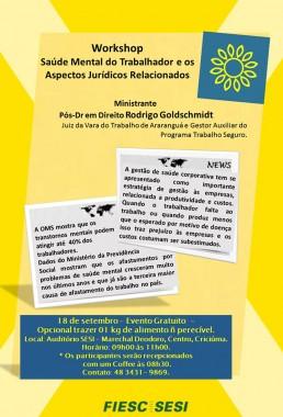 Sesi promove workshop sobre saúde mental do trabalhador