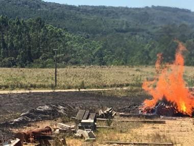 Madeireira é atingida por incêndio em Siderópolis