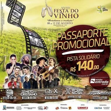 Passaporte promocional é oportunidade para prestigiar a Festa do Vinho