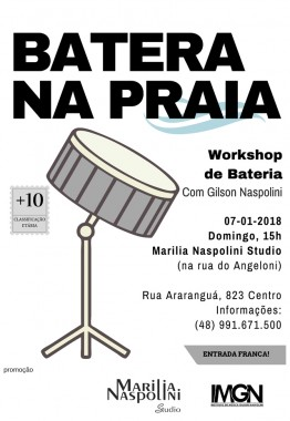 Workshop BATERA NA PRAIA em Balneário Rincão