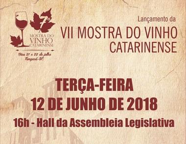 Lançamento de VII Mostra do Vinho Catarinense acontece dia 12