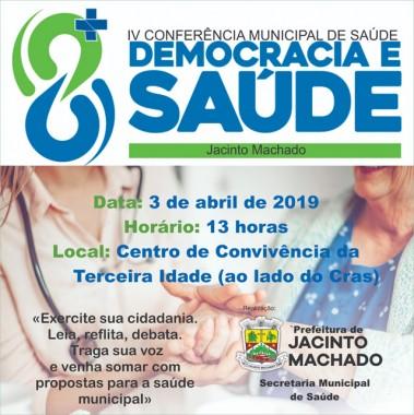 "Conferência Municipal de Saúde irá debater ""Saúde e Democracias"""