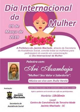Dia Internacional da Mulher terá programação especial em Jacinto Machado