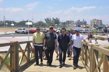 Ministro do Turismo vem ao Rincão acompanhar as obras do calçadão
