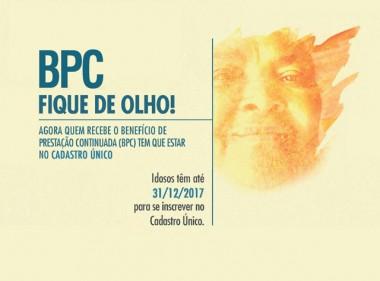 Idosos que recebem BPC devem inscrever-se no CadÚnico