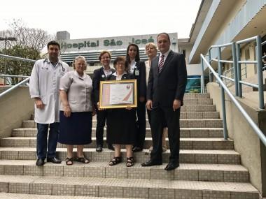 HSJosé recebe certificado em qualidade de serviços de saúde