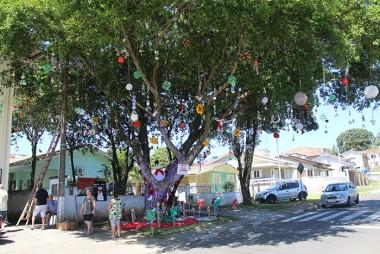 Clubes de Mães e Grupos de Idosos enfeitam árvores com materiais recicláveis
