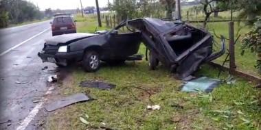 Kadette é encontrado sem ocupantes após colisão na Rodovia SC-445