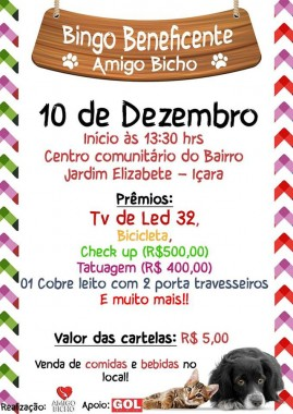 Amigo Bicho promove Bingo Beneficente neste domingo
