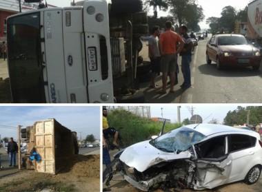 Caminhão tomba na SC-445 após colisão de veículo