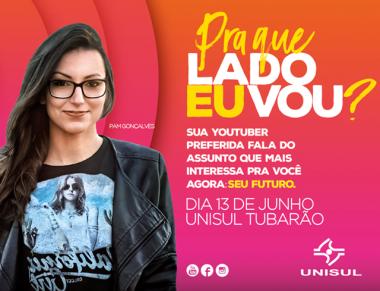 Youtuber Pam Gonçalves conversa com estudantes da Unisul